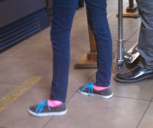Blue canvas sneakers with pink socks!
