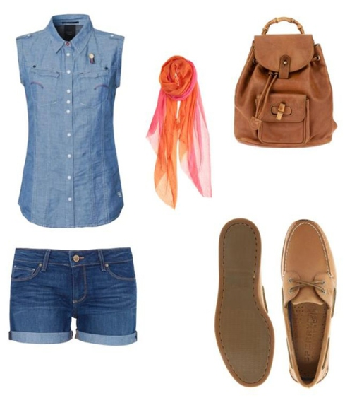 Denim tops, denim shorts, leather bag